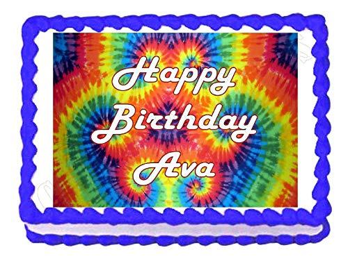 Tie Dye Hippie Party Edible Cake Image Cake Topper]()