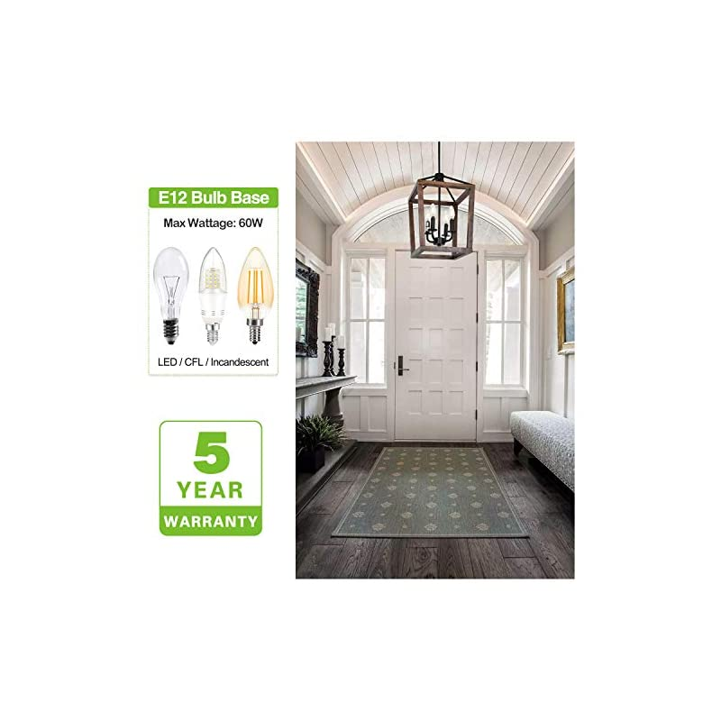 Hykolity 4-Light Rustic Chandelier, Adjustable Height Lantern Pendant Light with Oak Wood and Iron Finish, Farmhouse…
