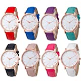 Yunanwa 8 PACK Unisex Women Men Rose Gold Leather Watches Brand Bracelet Dress Jelly Watch Wholesales