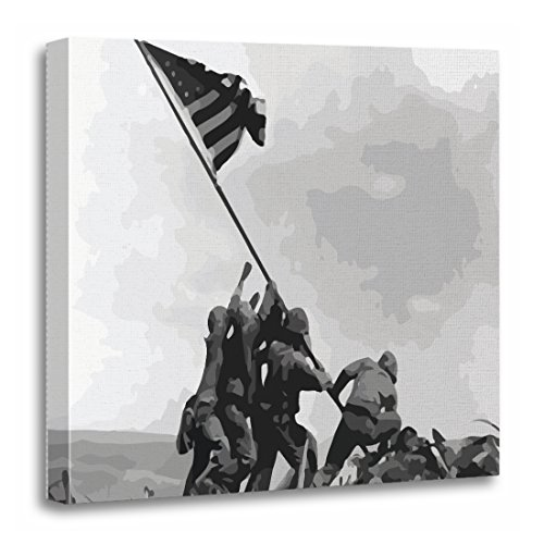 (TORASS Canvas Wall Art Print Raising Flag on Iwo Jima Vintage Artwork for Home Decor 20