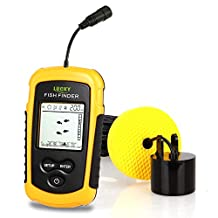 Lucky Portable Fishing Sonar, Wired Fish Finder Fishfinder Alarm Sensor Transducer with LCD Dispaly