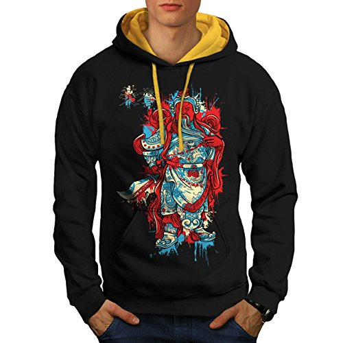 Chinese Empire God Samurai Man Men M Contrast Hoodie | Wellcoda