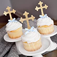 Baptism Decorations for Boys. Christening Cross Cupcake Toppers 12 CT.