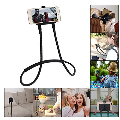 Neck Phone (Polifall Cell Phone Holder, Universal Mobile Phone Stand, Flexible Long Lazy Neck Bracket, Adjustable 360° Free Rotating Gooseneck Mount with Multiple Function)