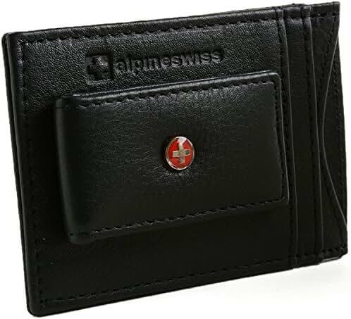 Alpine Swiss RFID Blocking Men's Magnetic Money Clip Leather Front Pocket Wallet