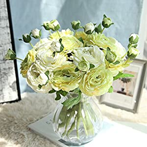 Allywit 1 Bouquet 2 Heads Artificial Silk Fake Flower Bouquet Bride Bridesmaid Holding Flowers for Home Hotel Office Wedding Party 10