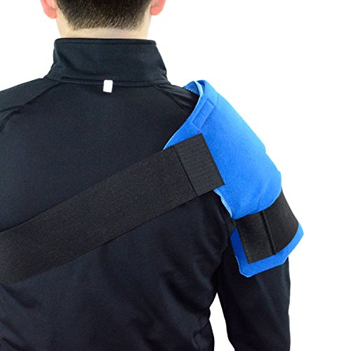Shoulder Wrap for Pain Relief | Long Lasting Reusable Hot/Cold Gel Pack | Large Coverage Compression Ice Therapy Shoulder Wrap | Bonus Free Extra Gel Pack Included