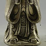 Vintage Home Decor Handwork Tibet Silver Carve Ideologist Confucius Statue Pot China Folk Art Collectible Antique Business Gift