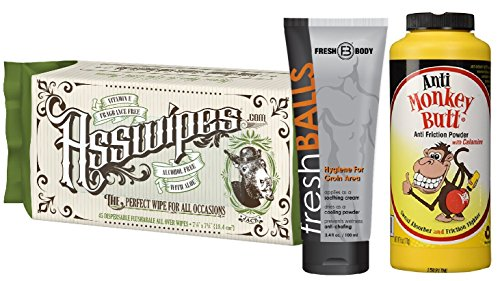 FRESH BALLS, ANTI MONKEY BUTT, and ASSWIPES! Ultimate Stay Fresh MAN BUNDLE! Fresh Balls Antiperspirant, Anti Monkey Butt Anti Chaffing Powder and Asswipes All Over Wipes with Aloe & Vitamin E!
