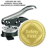 Embosser Bundle // Custom Embosser (Seal) & Premium Gold Foil Embossing Certificate Labels // ''Safety First''; Impression: 1-5/8 [SPC2CS] // Employee/Student Recognition At Work/School