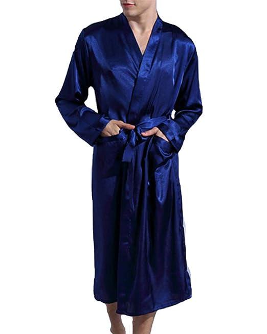 MISSMAOM Hombre Casual Vintage Ropa de Dormir Retro Kimono Robe Bata Albornoces Pijamas: Amazon.es: Ropa y accesorios