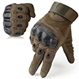 JIUSY Touch Screen Military Rubber Hard Knuckle Tactical Gloves Full Finger Airsoft Paintball Outdoor Army Gear Sports Cycling Motorcycle Riding Shooting Hunting Size Large Green