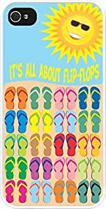 Rikki KnightTM It's All About Flip Flops Solid Design Design iPhone 4 & 4s Case Cover (White Rubber with bumper protection) for Apple iPhone 4 & 4s