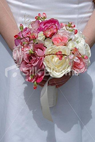 Amazon.com: Beautiful Mixed Rose Peony & Pink Cherry Blossom Bridal ...