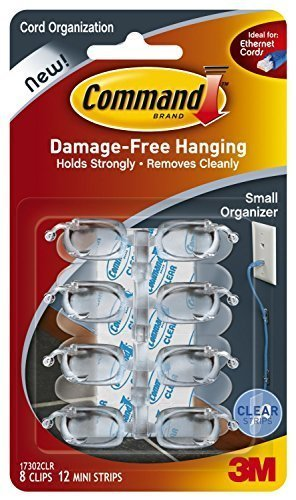 Command Cord Clips, Small, Clear, 16-Clips