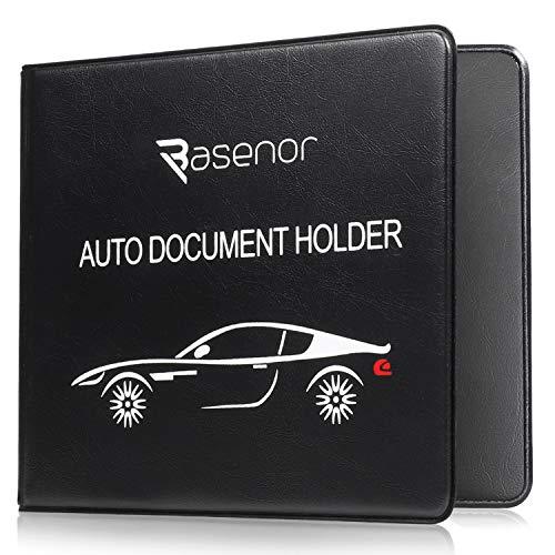 BASENOR Registration Insurance Card Holder Slim Leather Car Document Holder for Auto Insurance Registration, Driver License with Magnetic Closure Black