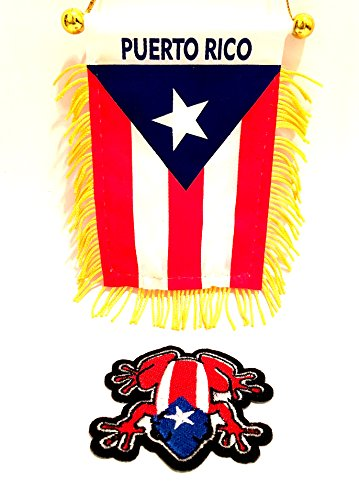 PUERTO RICO mini banner car flag ,nuestra hermosa bandera Boricua & Coqui flag patch