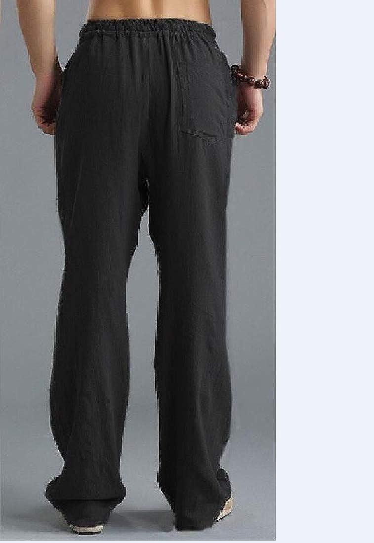 Zimaes-Men Summer Elastic Waist Lightweight Loose-Fit Casual Pants