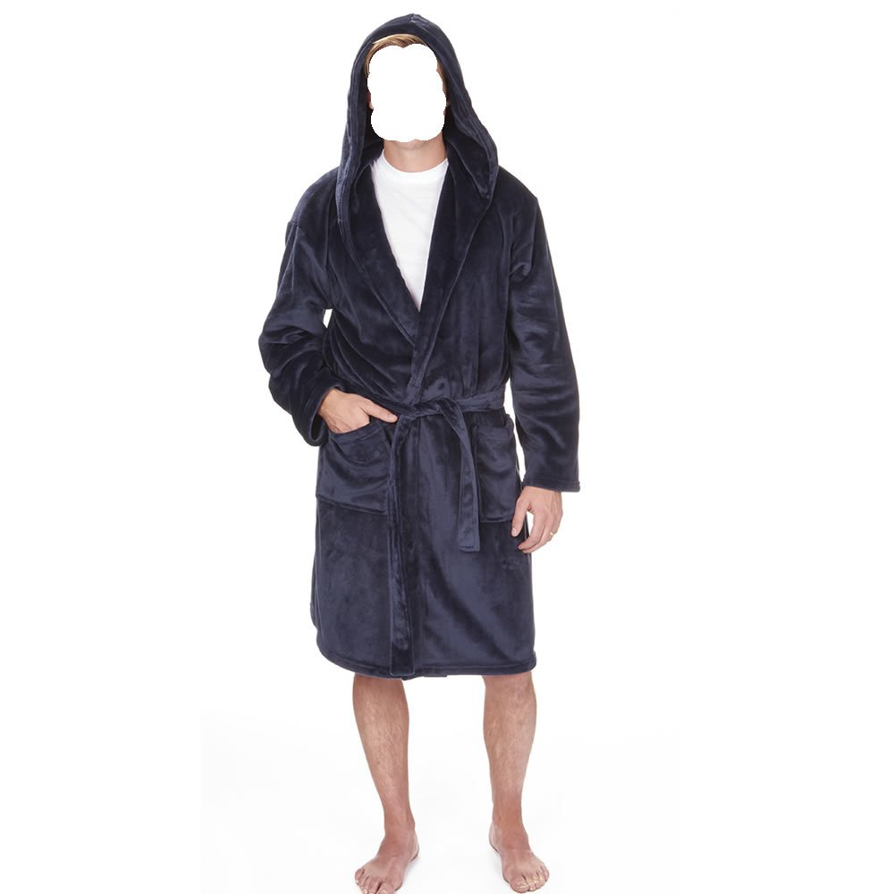 Army And Workwear Mens Soft Snuggle Plain Fleece Hooded Dressing Gown Bath Robe Housecoat