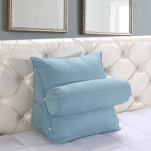 M, White ZZYOU Soft Comfort Back Wedge Cushion with Roll Pillow Throw Pillow Sofa Bed Office Chair Rest Cushion Waist Support Pillow