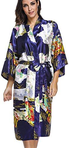 FLYCHEN Women s satin kimono robe sleepwear for ladies plus size 6ab09997b