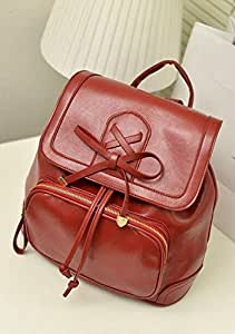 PU Backpack Shoulders Bag Leisure Preppy Style Students Bagpack for Women (Wine Red)