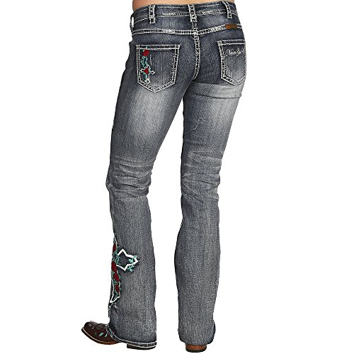 Medium Rose (Cowgirl Tuff Co. Womens Roses and Grace Medium Wash Jeans 33 L Denim)