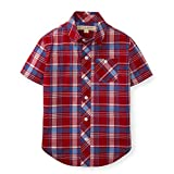Hope & Henry Boys' Red and Blue Slubby Poplin Short Sleeve Button Up Made with Organic Cotton