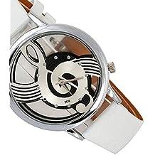 Clearance! Waroomvan Men's Womens Music Note Pattern Watches PU Leather Band Quartz Wrist Watches White