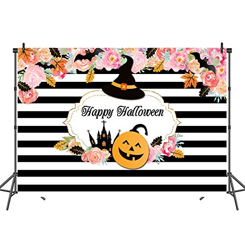 Mehofoto Happy Halloween Background Black and White Pumpkin Festival Backdrop 7X5ft Halloween Party Photography Backdrops for Newborn Baby]()