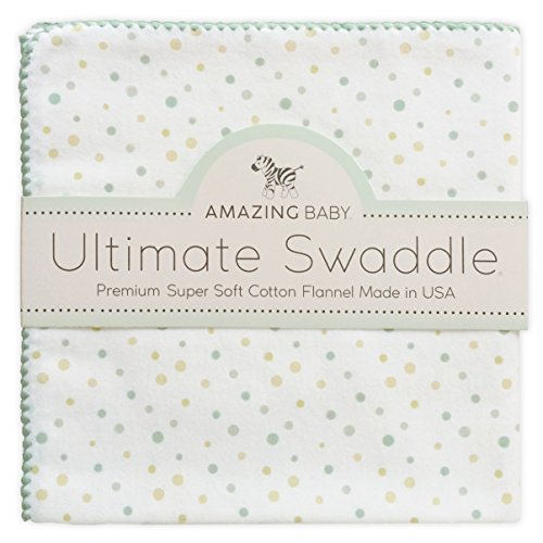 Amazing Baby Ultimate Swaddle, X-Large Receiving Blanket, Made in USA Premium Cotton Flannel, Playful Dots, Multi SeaCrystal (Mom's Choice Award Winner)