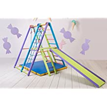 Panda Indoor Playground by EZPlay – Sturdy Ash Wood Indoor Jungle Gym Sets Up & Stores Away in Minutes, Kids Play Area Complete with Climbing Ladder Swing Slide & Rings, Play Structure for Ages 1-5