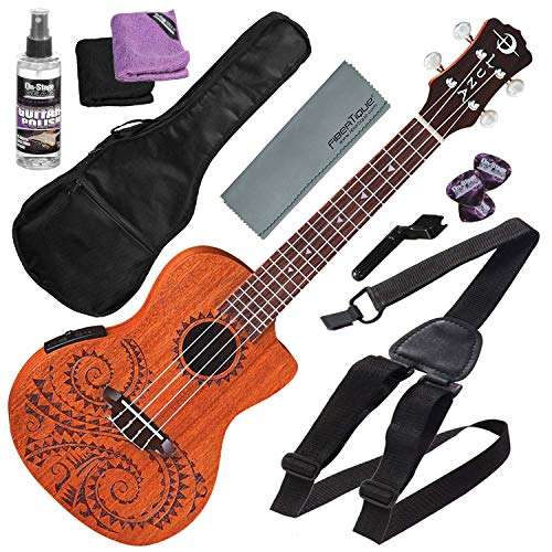 Luna Uke Tattoo Concert Acoustic-Electric Ukulele with Preamp & Gigbag + Basic Accessory Bundle