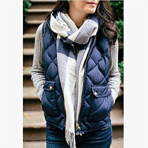 ULAKY Women's Light Down Jacket Coat Puffer Vest with Fur Trim Hood,blue