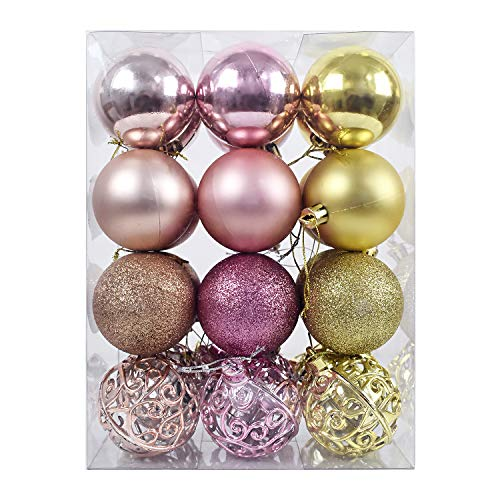 """AUXO-FUN 2.36""""/60mm shatterproof Christmas ball ornaments tree decoration baubles set of 24 counts (champagne,queen pink & gold)"""