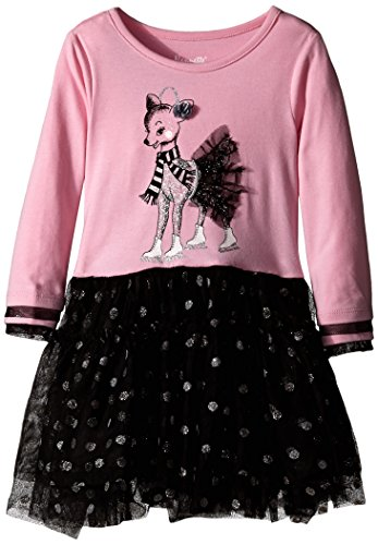 Nannette Little Girls' Toddler Dress Poodle Knit Top with Glitter Screenprint and Mesh Skirt, Pink, 2T