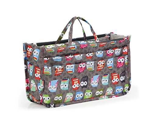 Cosmetic Bag for Women Cute Printing 14 Pockets Expandable Makeup Organizer Purse with Handles (Owl) by MICOM (Image #1)
