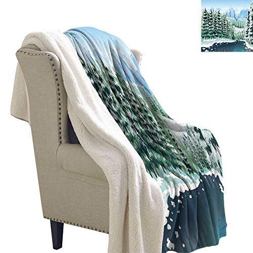 Benmo House Flannel Bed Blankets Forest,Wildwood in Winter Season with Snowy Mountains and Frozen River Cartoon Style,Green Blue White Life Comfort Throw Blanket 60x47 Inch ()
