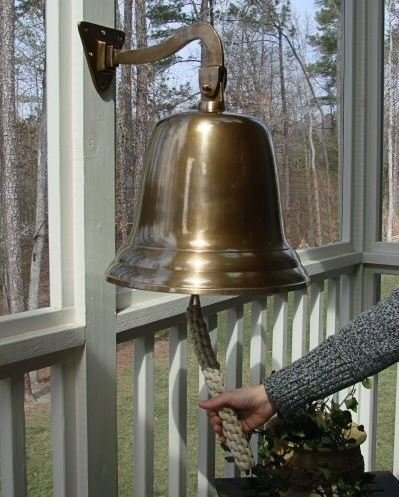 14'' Antiqued Brass Wall Bell by Brass Bell