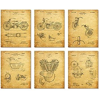 Harley Davidson Patent Art Prints - Set of Six Photos (Parchment - Matte, 8 X 10)