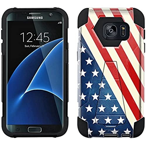 Samsung Galaxy S7 Edge Hybrid Case Slanted American Flag 2 Piece Style Silicone Case Cover with Stand for Samsung Galaxy S7 Edge Sales