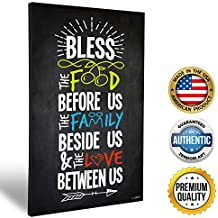 ZENDORI ART 'Bless The Food Before Us' Family Rules Wall Art - Made in USA (Wood Art, 12x18)