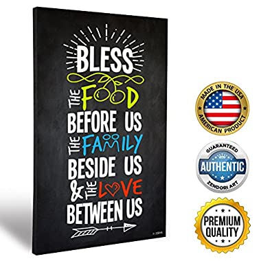 ZENDORI ART  Bless Food Family Love  Family Rules Wall Art - Made in USA (Wood Art, 12x18)