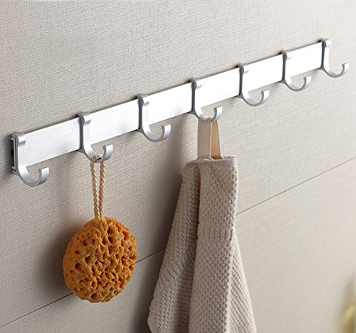 BOEN A2024H7-1 Coat Hook Rack/Rail with 7 Pronged Hooks Wall Mount Solid Aluminum
