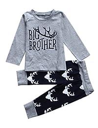 SUPEYA Toddler Baby Boys Letter Print T-Shirt+Deer Print Trousers Outfits 2Pcs Set