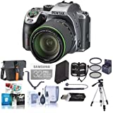 Pentax K-70 24MP Full HD DLR Camera with SMC DA 18-135mm f/3.5-5.6 ED AL DC WR Lens, Silver - Bundle with Holster Case, Spare Battery, Tripod, 62mm Filter Kit, Cleaning Kit, Software Package and More