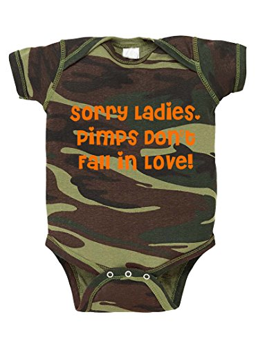Sorry Ladies, Pimps Don't Fall In Love! Camo Baby Bodysuit One Piece Green Woodland 12 Months
