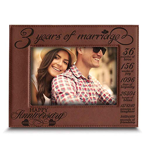 BELLA BUSTA- 3 Years of marriage-2016->2019- Years,Months, Weeks, Days, Hours, Weeks, Minutes, Seconds- Engraved Leather Picture Frame (5x 7 Horizontal (Rawhide))