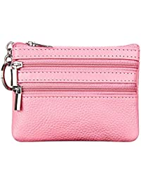 b01d9c204d Women's Genuine Leather Coin Purse Mini Pouch Change Wallet with Key Ring