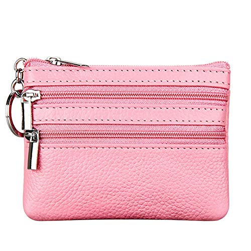 Women's Genuine Leather Coin Purse Mini Pouch Change Wallet with Key Ring,pink
